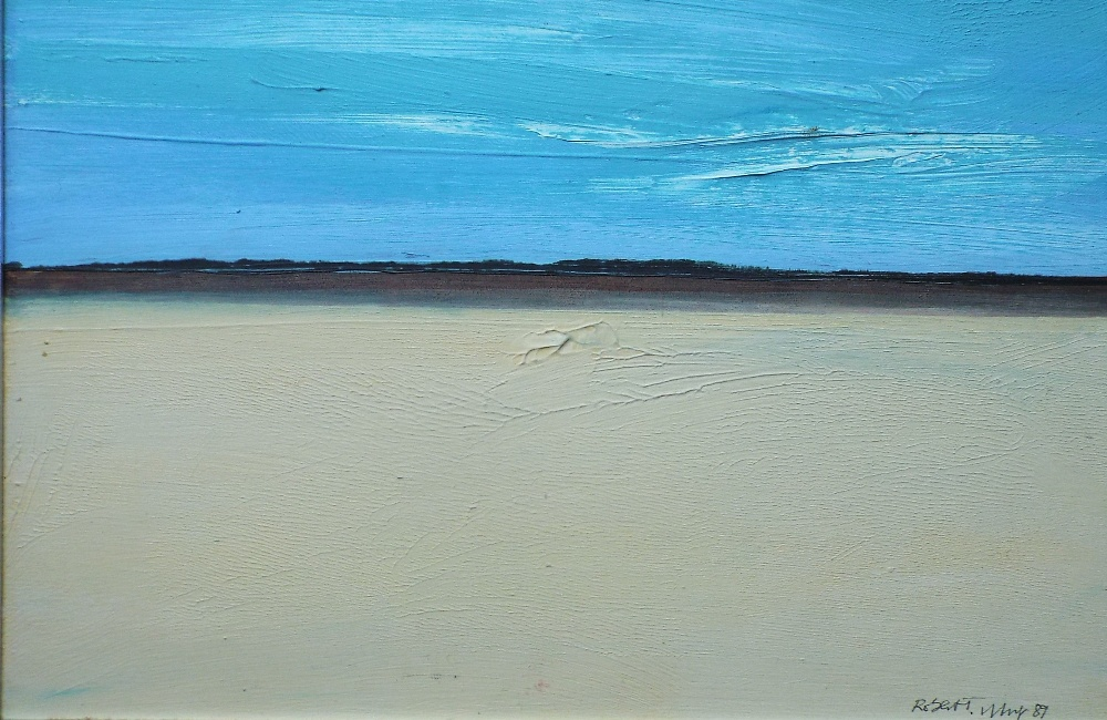 Lot 147 - Robert Tilling (1944-2011) - 'coastal Landscape', signed and dated 1989, oil on board, 30 x 45cm,