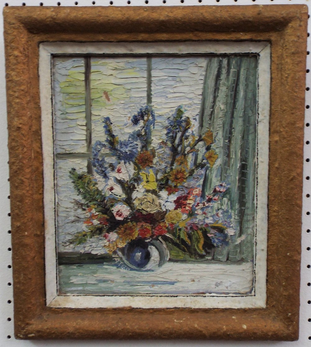 Lot 155 - Fred Yates (1922-2008) - Still life of a bouquet of flowers on a windowsill, signed, oil on board,