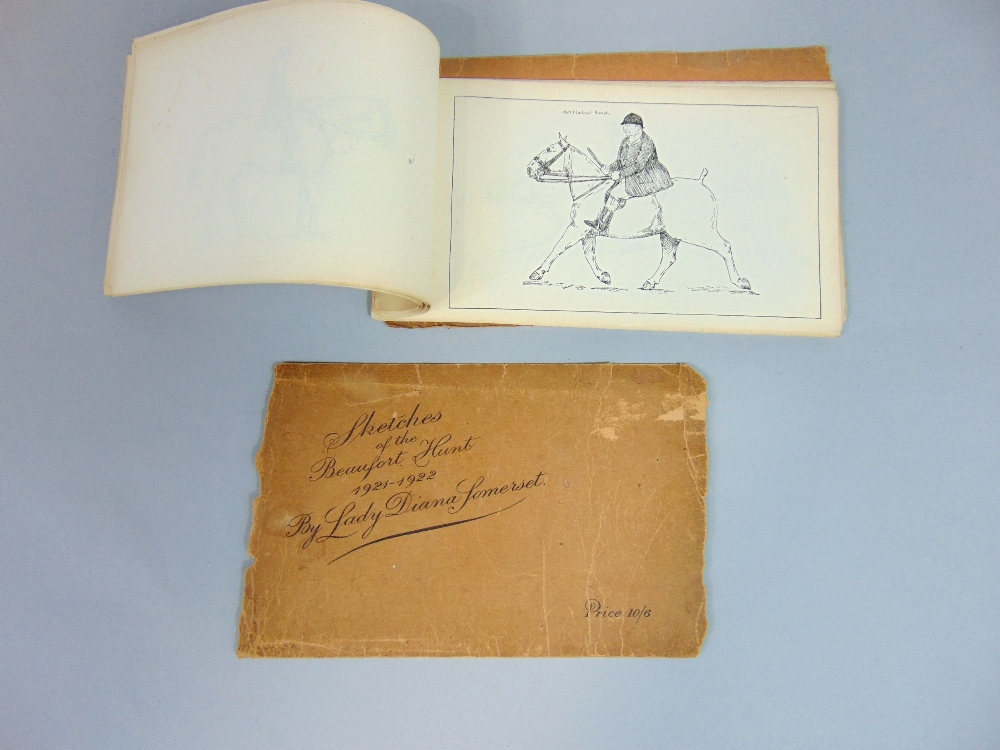 Lot 705 - Sketches of the Beaufort Hunt 1921-1922 by Lady Diana Somerset, ketches/line drawings of members