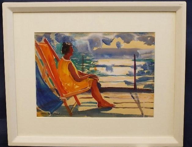 Lot 72 - Jean Dryden Alexander (1911-1994) - 'Woman in Deck Chair', signed, Gouache, 27 x 36cm, framed