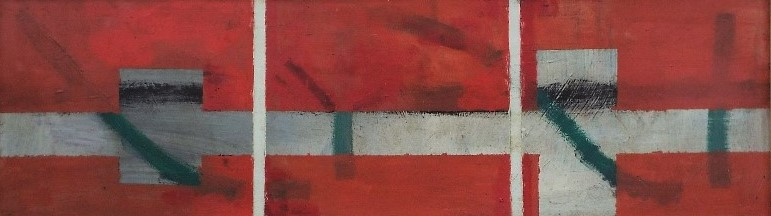 Lot 96 - Possibly by Terry Frost (1915-2003) - 'Abstract study with white lines on red', inscribed 'Frost,