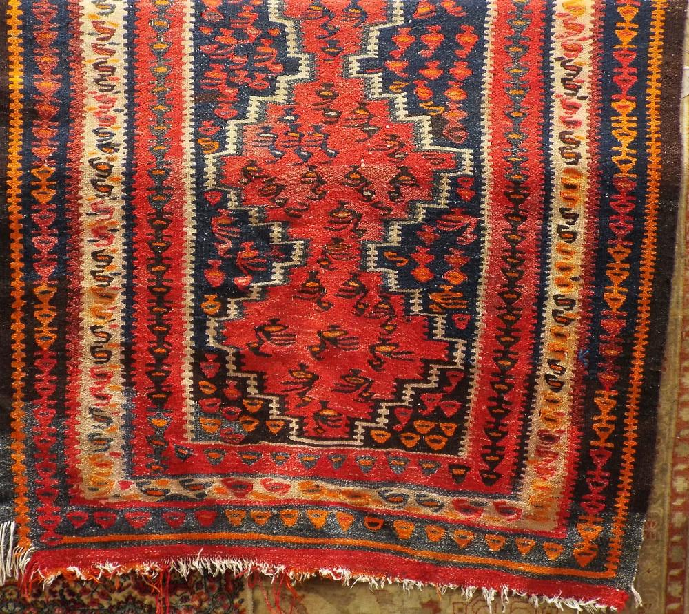 Lot 1439 - Good old Kelim rug with red blue colourway, 210 x 145 cm