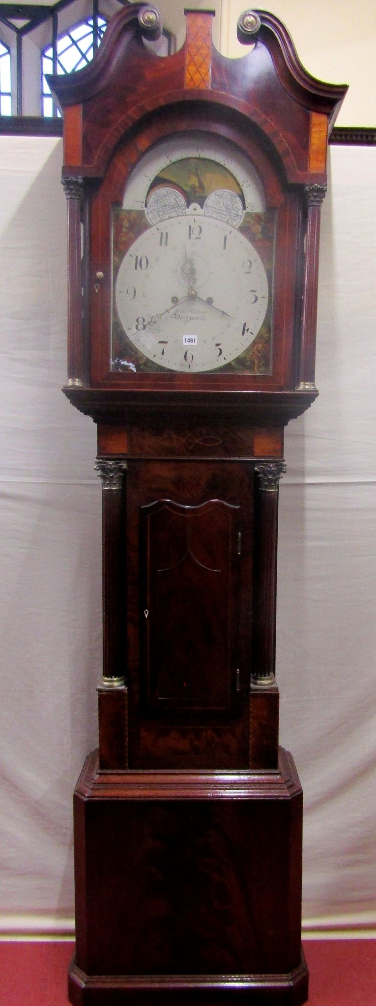 Lot 1461 - A Regency mahogany longcase clock with well figured flame veneers, the trunk with corinthian