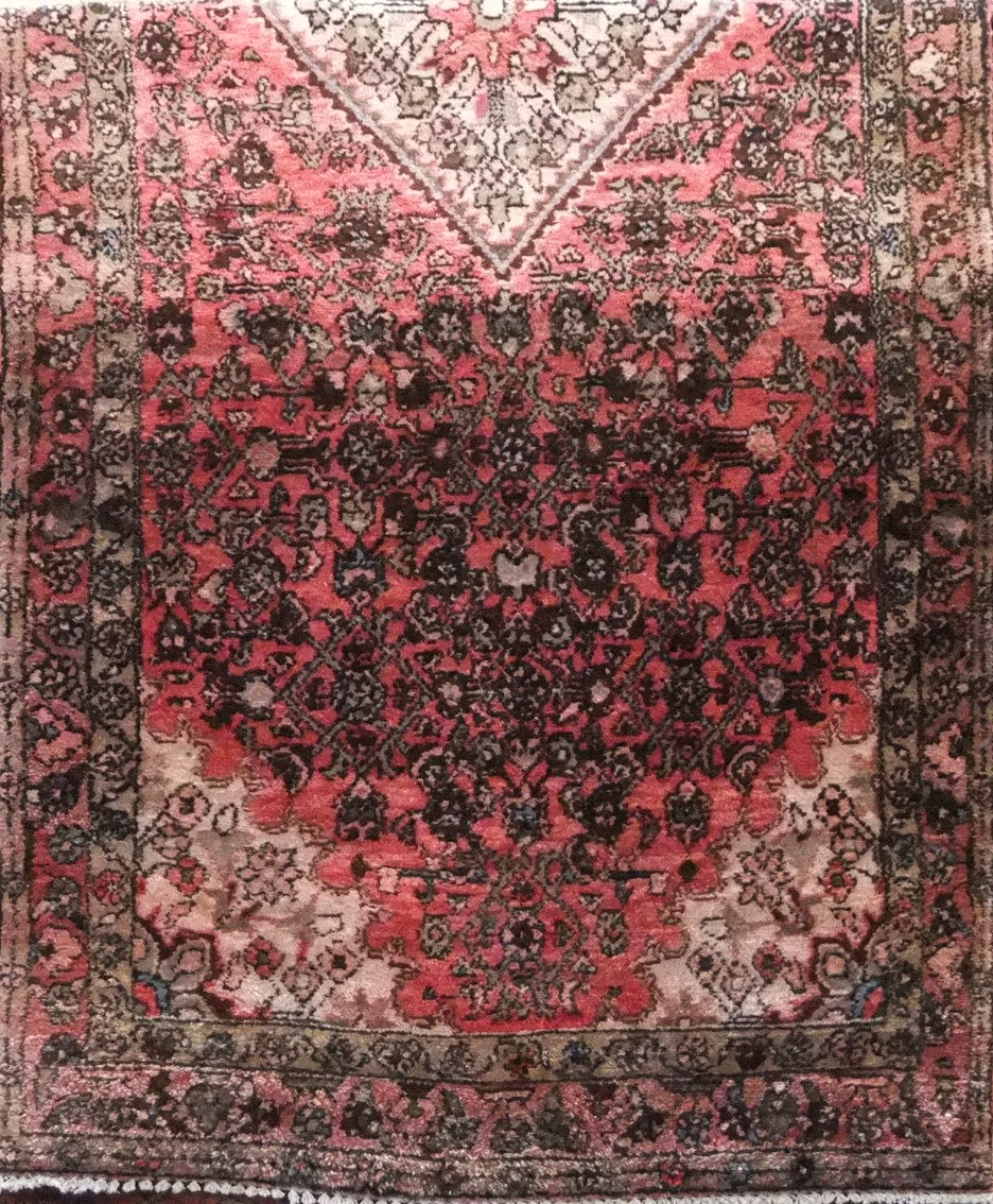 Lot 1419 - Full pile Persian Sarouk runner, washed red ground, 300 x 125cm