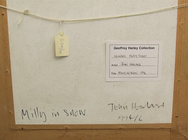 Lot 64 - John Harland (B.1959) - 'Milly in Snow', signed, titled and dated 1994 verso, Geoffrey Harley