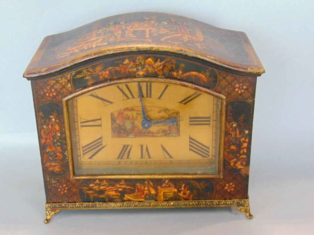 Lot 580 - Chinoiserie cased brass dial arched mantel timepiece, the case with relief overlay, the dial