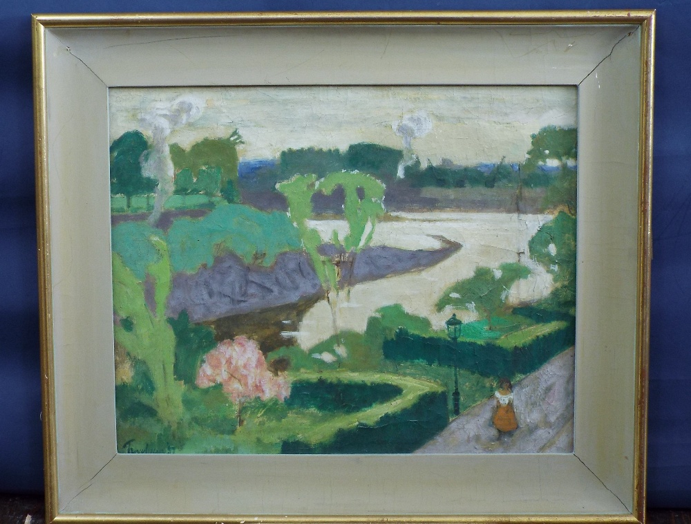 Lot 51 - Julian Trevelyan (1910-1988) - 'Chiswick in May', signed, titled verso, oil on canvas, 40 x 50cm,