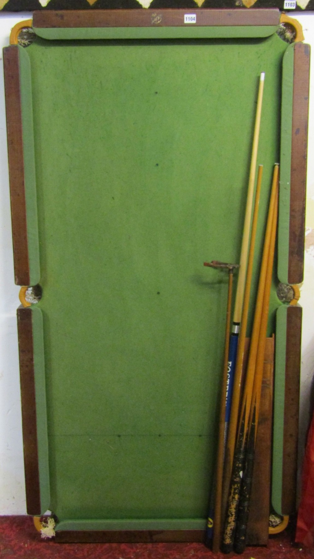 Lot 1104 - F H Ayres quarter size slate bed snooker table and accessories
