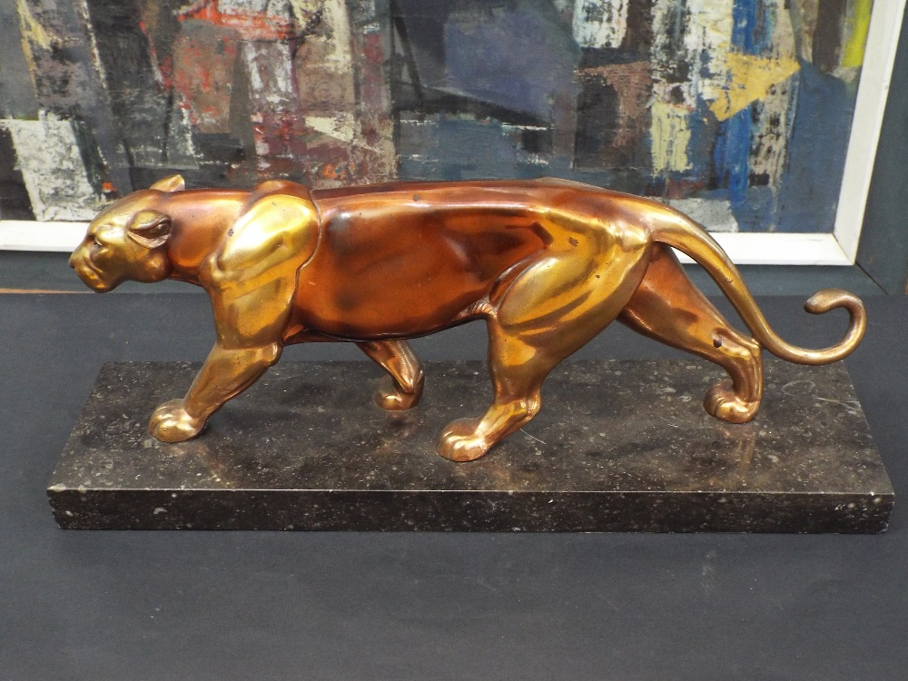 Lot 177D - Art Deco gilt spelter figure of a panther upon a marble base, 45cm long
