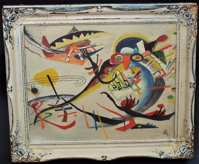 Lot 132 - After W. Kandinsky - 'Untitled' (Abstract), Oil on board, 29.5 x 37cm, framed