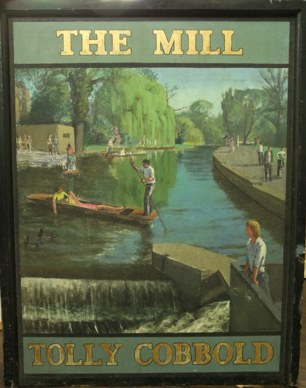 Lot 163 - Julian Bell (B. 1952) - 'The Mill, Tolly Cobbold', signed, hand painted twin sided pub sign, 107 x