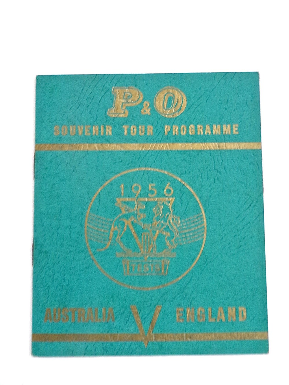 Lot 874 - A signed souvenir tour programme of Australia v England 1956 Test Series Cricket (displayed in