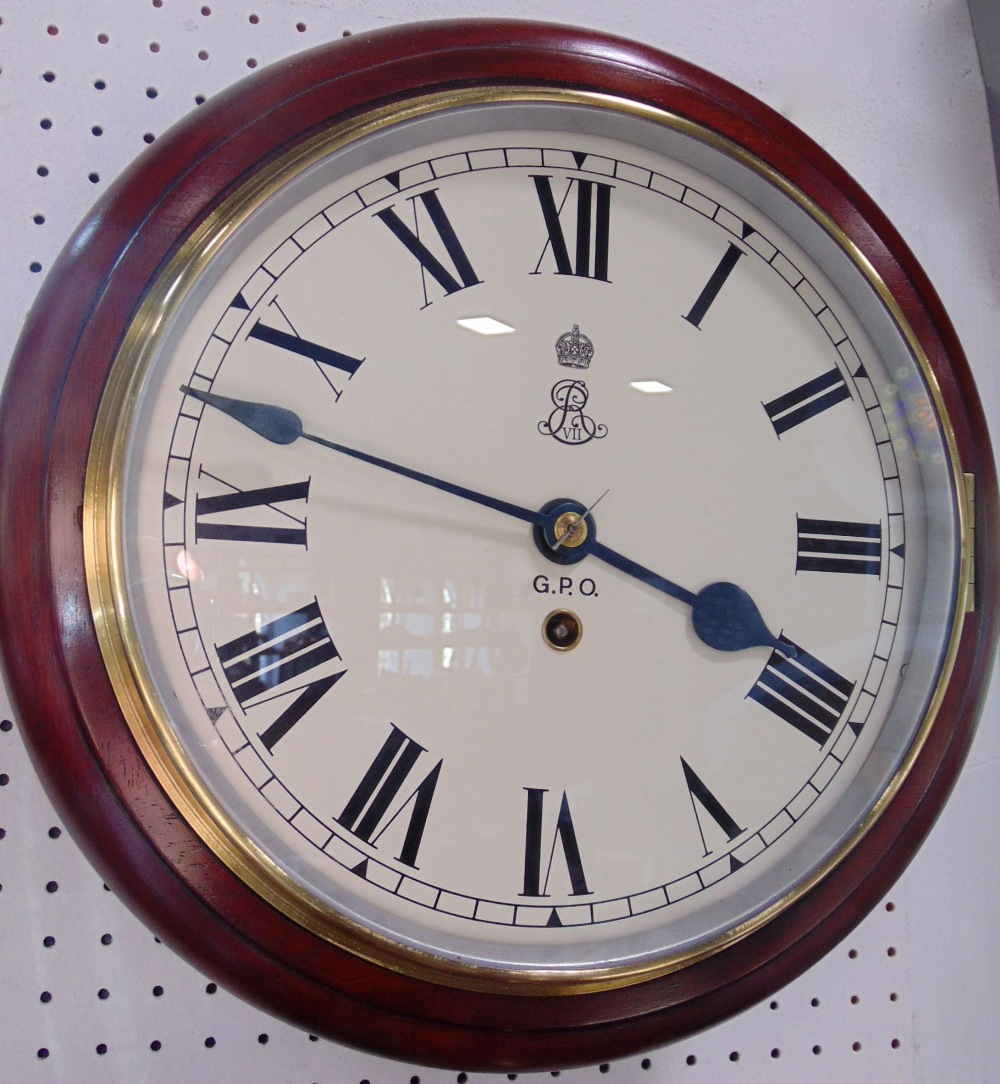 Lot 559 - Mahogany cased single fusee wall clock with Roman numerals and inscribed GPO and royal monogram