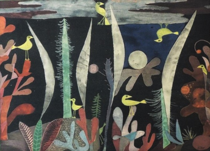 Lot 78 - Paul Klee (1879-1940, Swiss) - 'Yellow Birds in Trees', lithograph, 26 x 33cm, framed