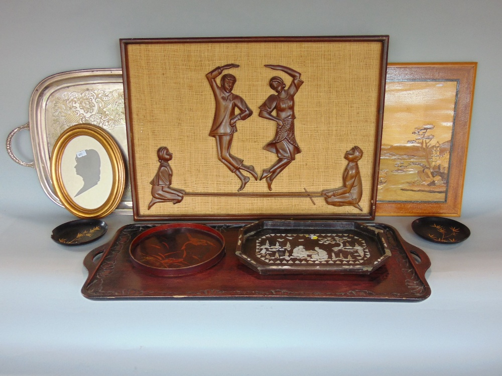 Lot 773 - A mixed collection of treen and metal wares to include Chinese hardwood twin handled tray, Chinese