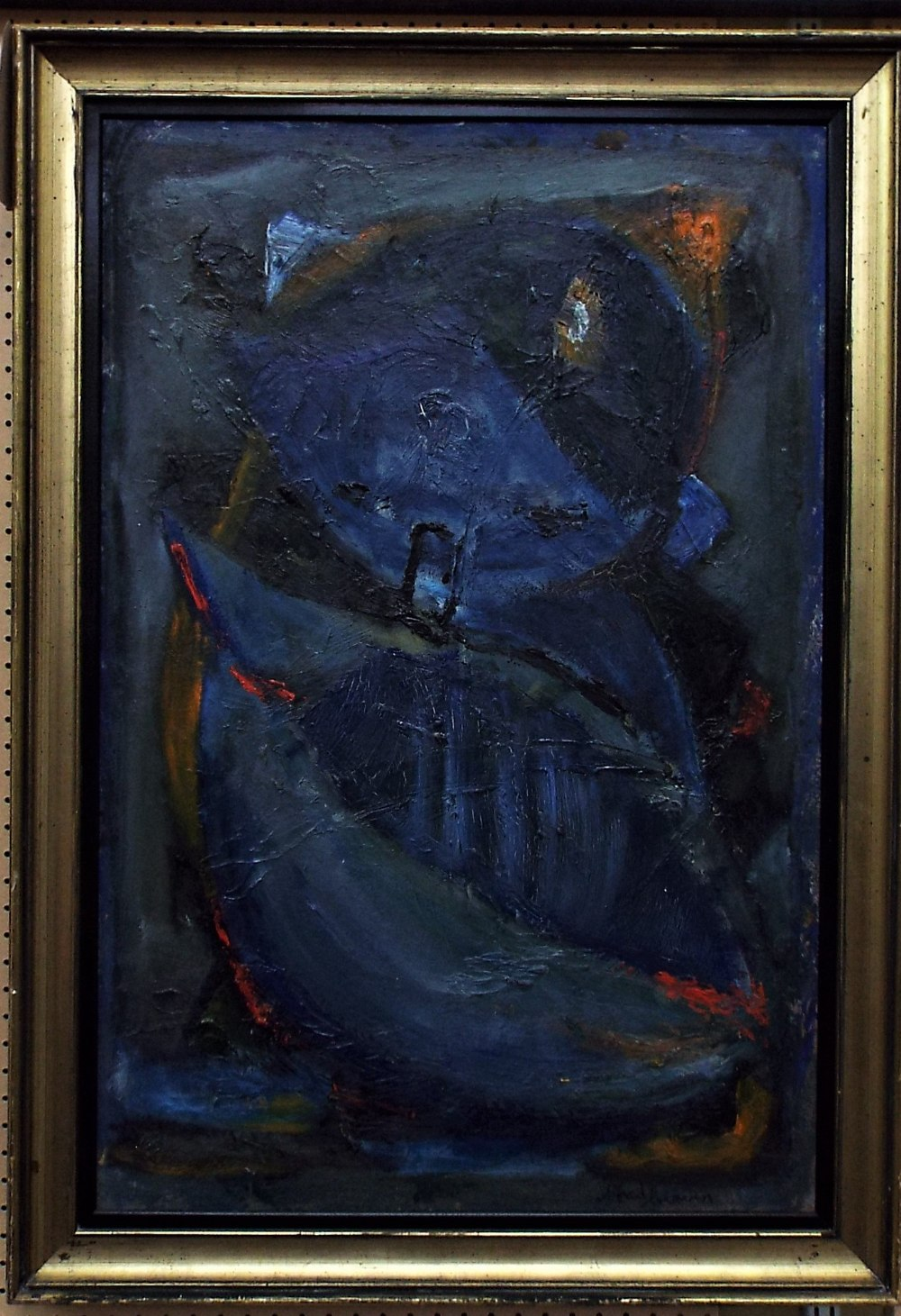 Lot 154 - Alfred? - Abstract study with thick impasto of blue red and orange, indistinctly signed, oil on