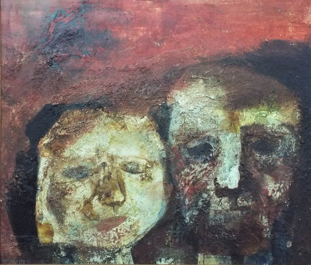 Lot 156 - Harold Wood (1918-2014) - 'Two Faces', signed and dated 62, oil on board, 70 x 82cm, framed