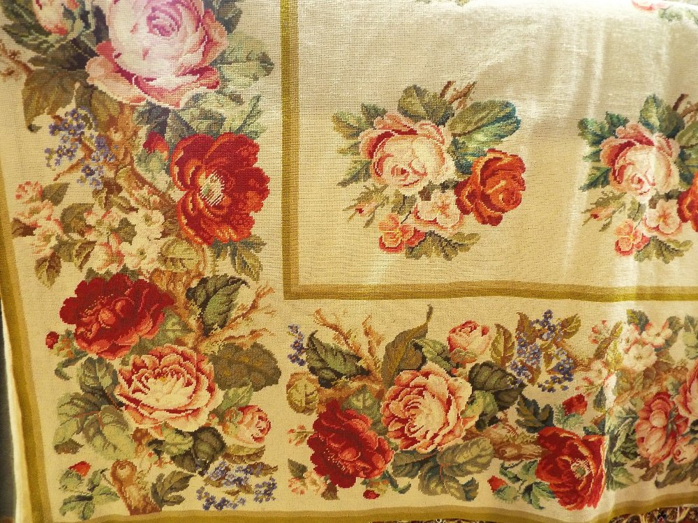 Lot 1450B - Aubusson type carpet decorated with roses upon a cream ground, 240 x 200 cm