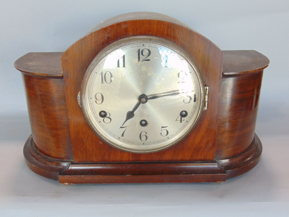 Lot 588 - Four various vintage mantel clocks to include a three train Napoleon hat example (4)