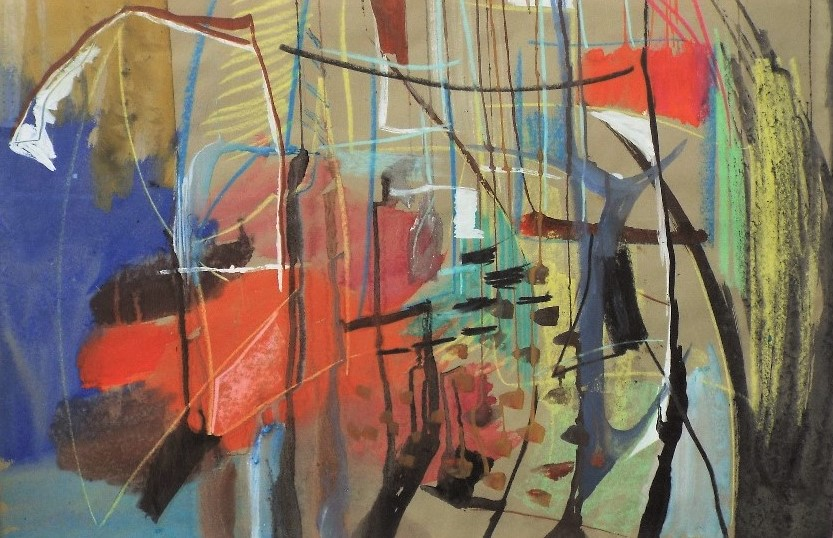 Lot 119 - Derrick Sayer (1917-1991) - 'Untitled' (Abstract), Mixed Media, 57.5 x 83cm, framed