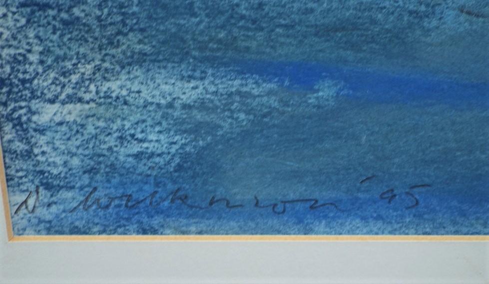 Lot 143 - 20th century school - 'Coastal landscape', indistinctly signed in pencil, mixed media, 75 x 110cm,