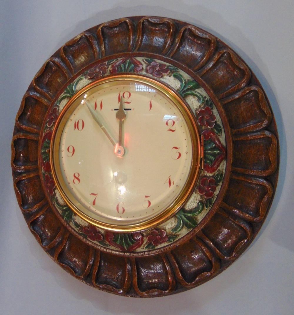 Lot 562 - A collection of five various vintage wall clocks to include a 31 day clock with day/date aperture, a