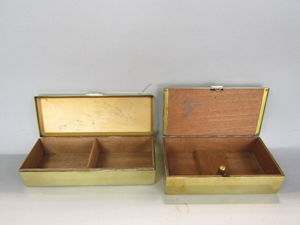 Lot 761 - A polished brass slipper or shoe box, a further polished brass two divisional cigar box and a