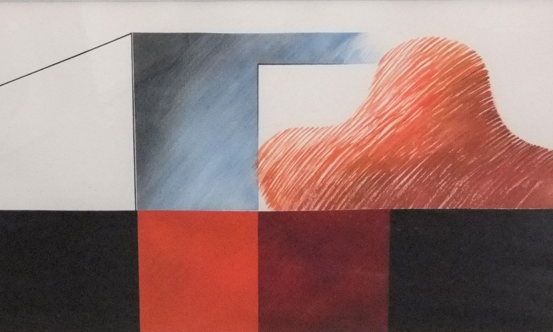 Lot 141 - Renato Cruz (20th century) - Abstract study in red, black and blue, mixed media on paper, signed and