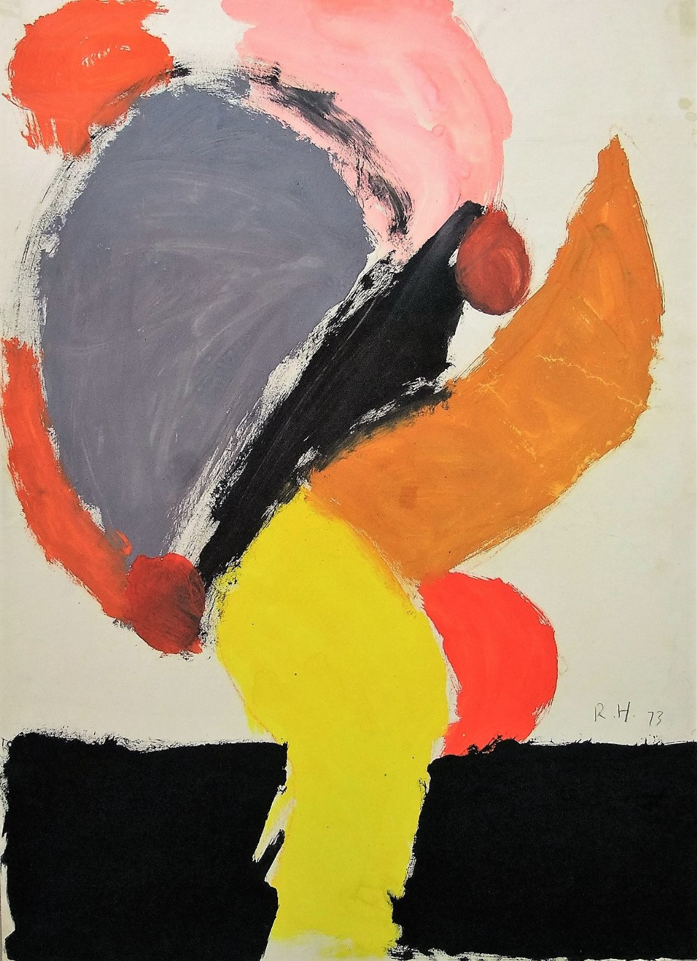 Lot 100 - Roger Hilton (1911-1975) - 'Untitled', abstract figural study, monogrammed RH and dated 1973,