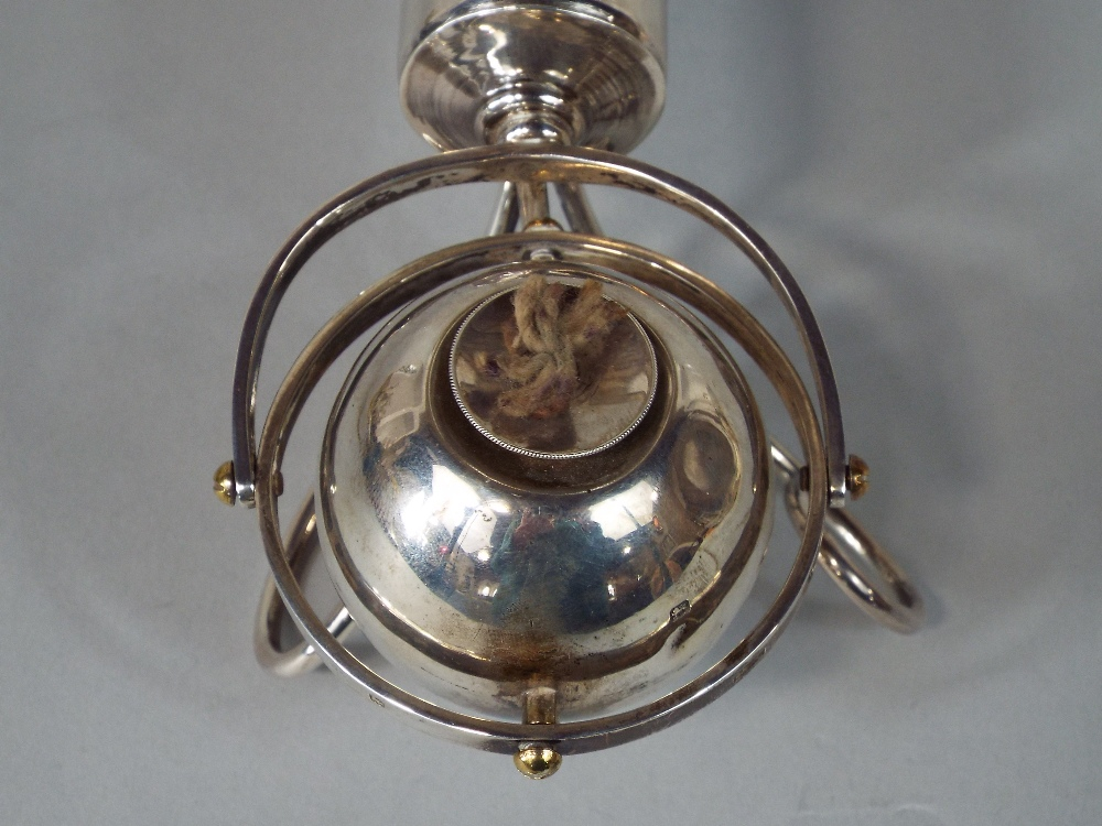 Lot 398 - Good quality Asprey table lighter with black buck horn stand and gimble movement, London 1925,