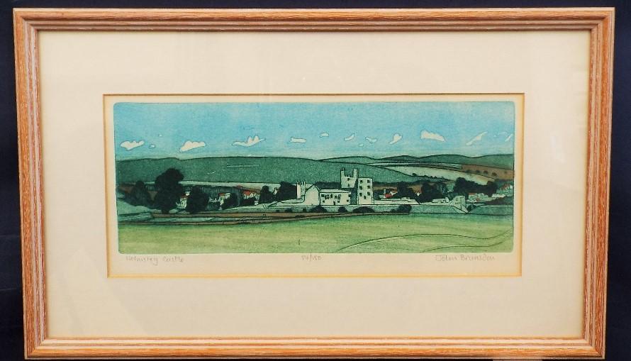 Lot 73 - John Brunsden (1933-2014) - 'Helmsley Castle', signed, 54/150 Etching in Colours, 11 x 19cm, framed