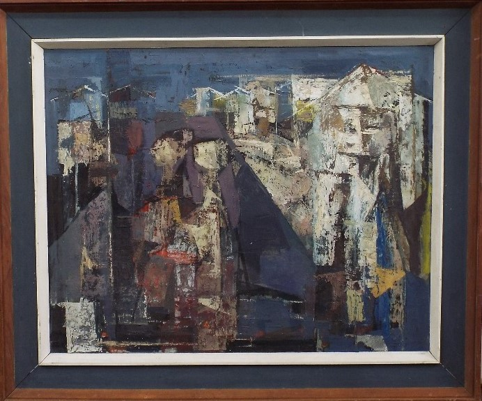 Lot 88 - ? Davies (20th century) - 'Large abstract study', unsigned, part gallery label verso with limited