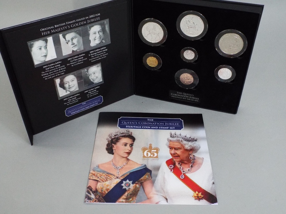 Lot 622 - Queens Jubilee Coronation coin and stamp set, 7 coins, Coronation Crown to bronze half penny,