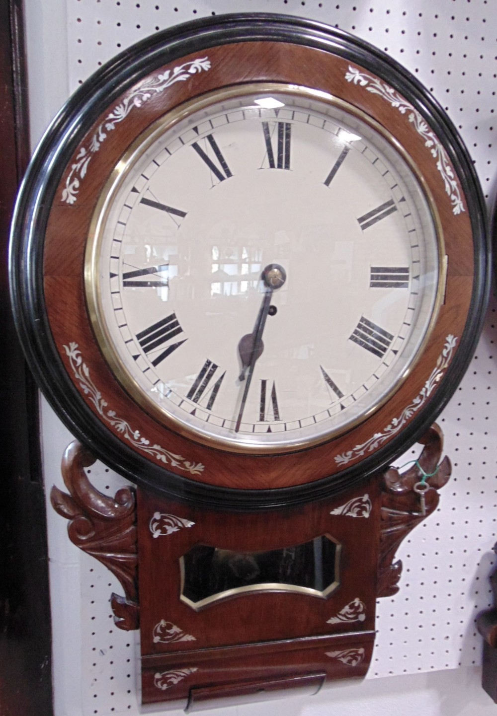 Lot 560 - 19th century single fusee rosewood and mother of pearl inlaid drop dial wall clock, 11.5 inch dial
