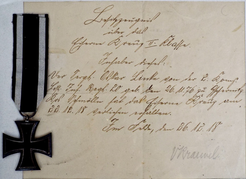Lot 611 - World War One iron cross second class with contemporary frame and handwritten documentation