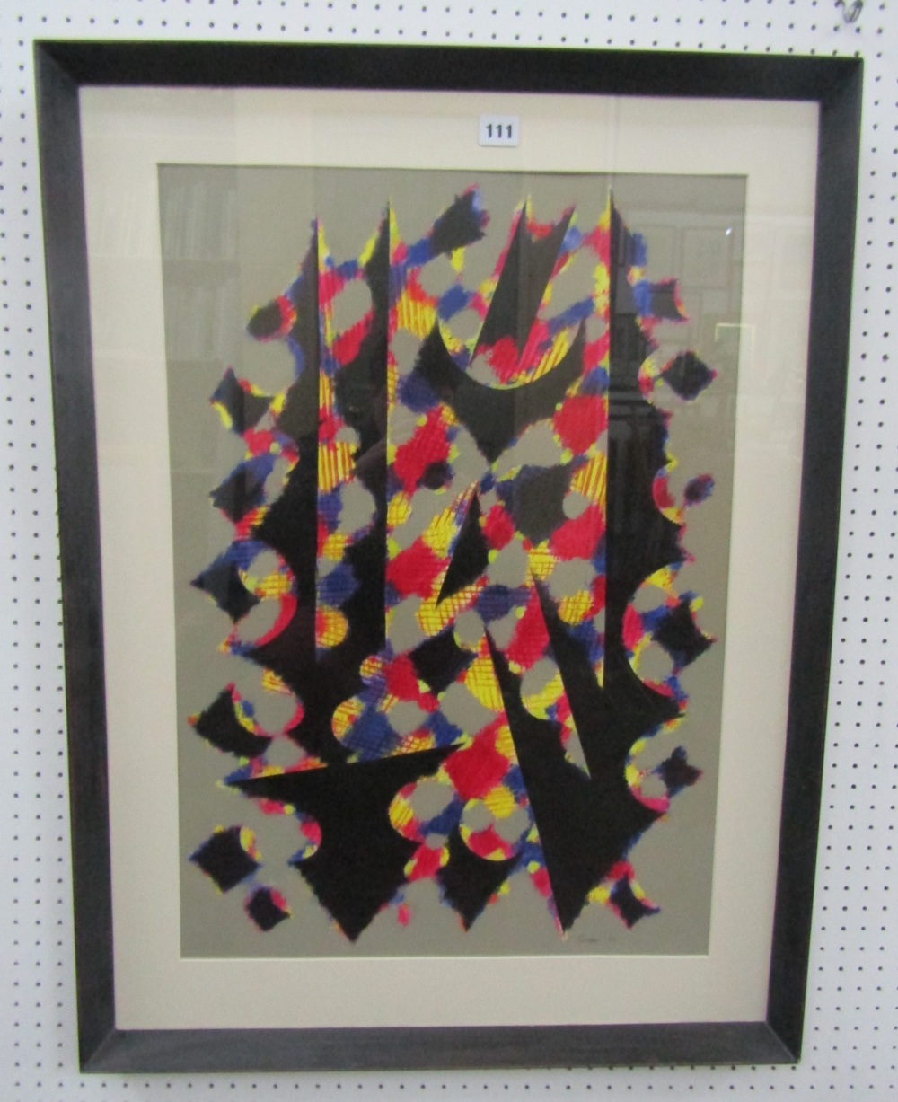 Lot 111 - William Gear (1915-1997) - Untitled (Black, Yellow, Red), signed and dated 1980, acrylic on paper,