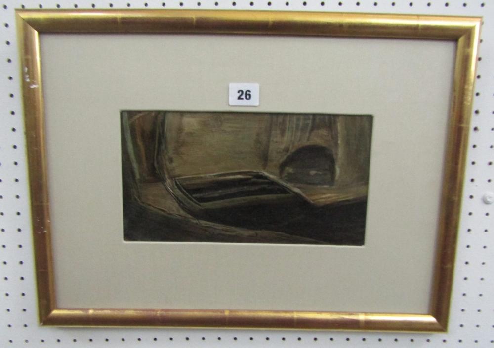 Lot 26 - John Dalton (1915-1989) - 'Park Mead', signed, inscribed verso, oil on paper, 14.5 x 26.5cm, framed