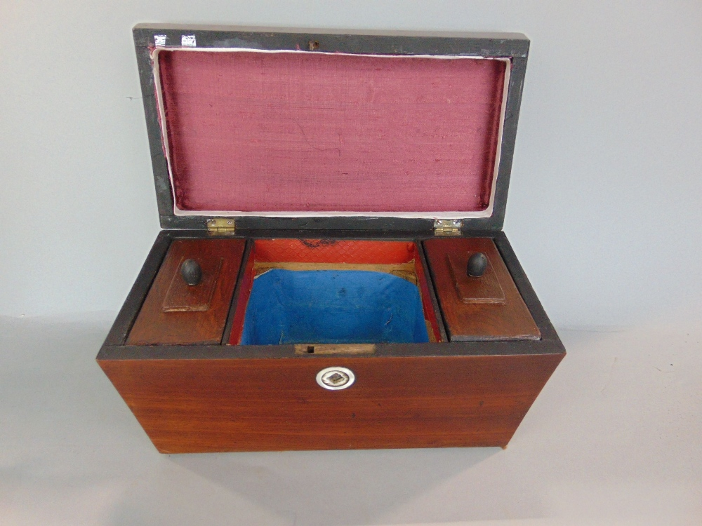 Lot 810 - A 19th century sarcophagus shaped tea caddy, cut glass decanter with silver collar, pair of open