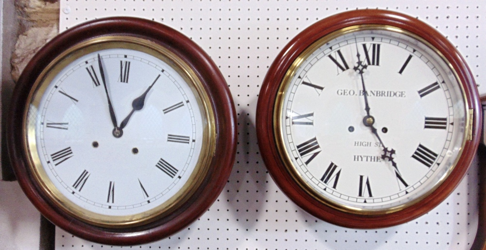 Lot 567 - George Banbridge of Hythe 11 inch mahogany cased wall clock, the enamel dial with Roman numerals,