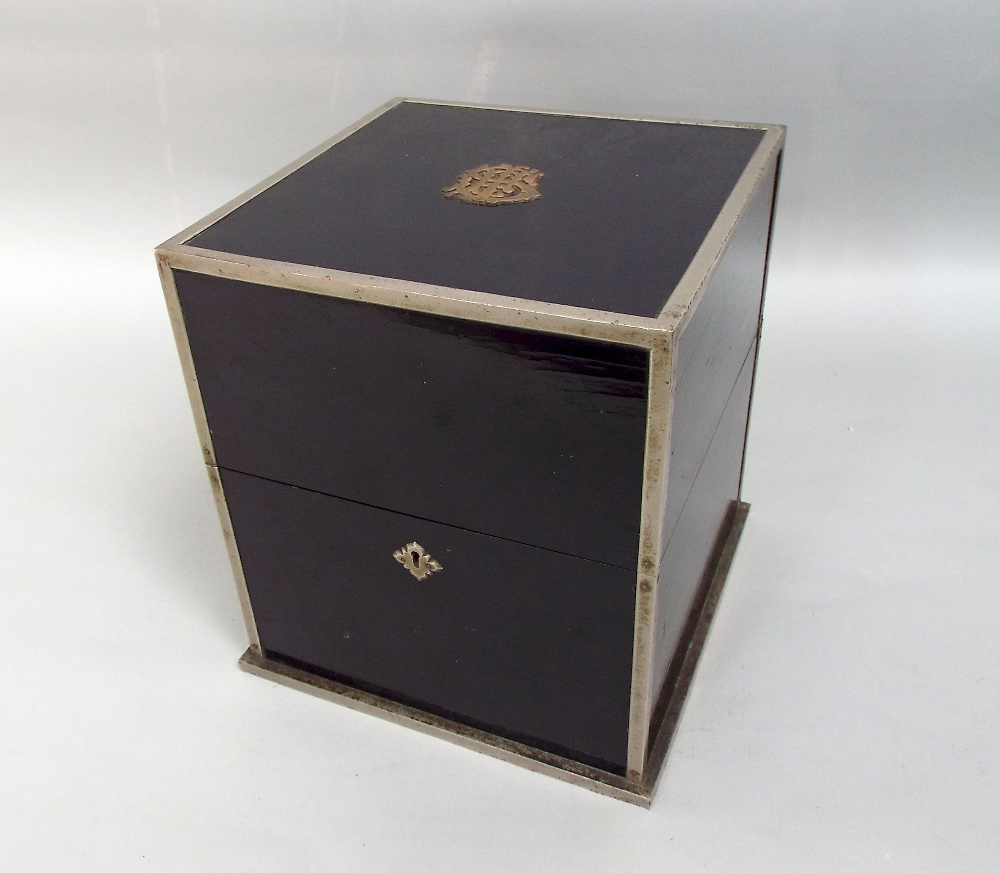 Lot 340 - Ebonised wooden decanter box with plated mount and monogrammed detail with detail to the rising