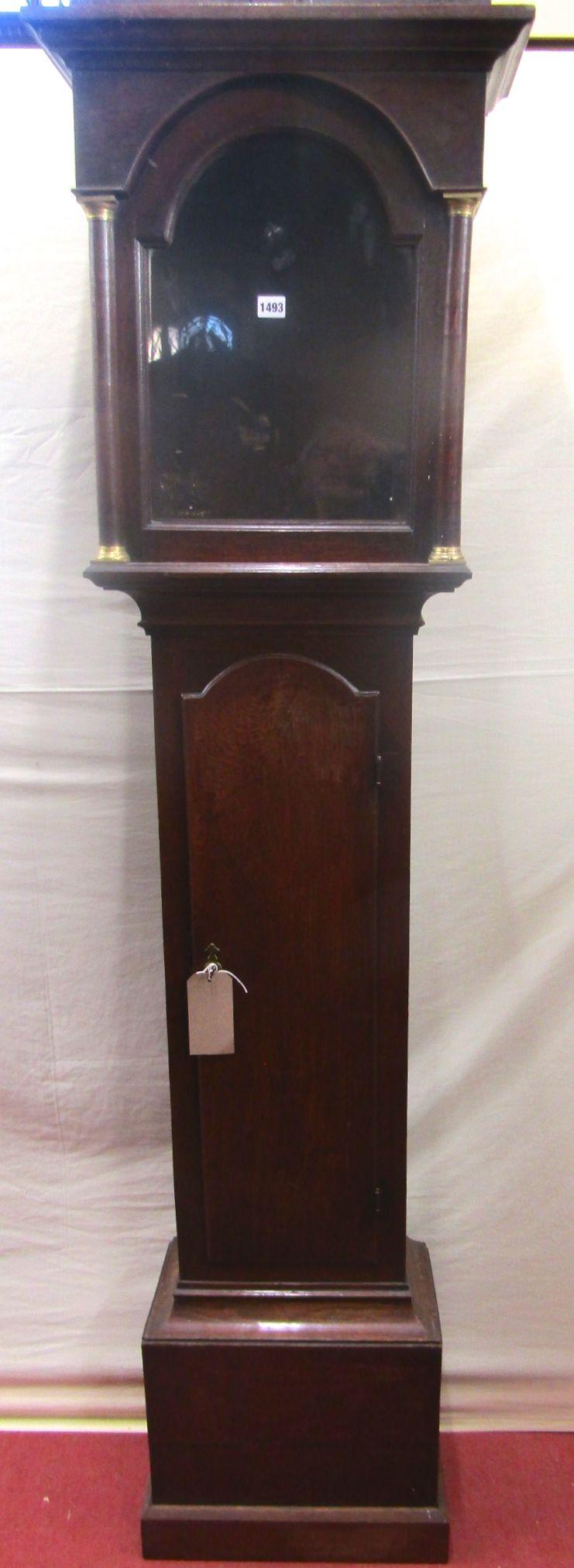 Lot 1493 - A Georgian oak longcase clock case, the trunk enclosing a full length door, the hood to enclose a 12