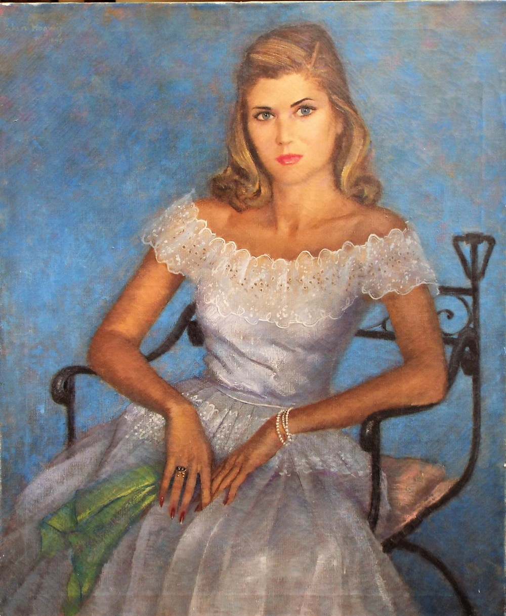Lot 158 - Jan Hoowij (1907-1987 Dutch/American) - Portrait of a Hollywood starlet, signed and dated 1946,