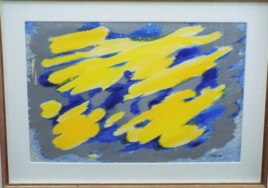 Lot 110 - William Gear (1915-1997) - Untitled (Yellow & Blue), signed and dated 1974, oil on paper, 53 x 76cm,