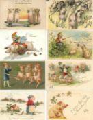 Tiere,Säugetiere,allgemeinSchweine Album mit über 160 Ansichtskarten, teils geprägt I-II