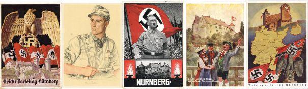 Militaer,WK II,sonstigeWK II Album mit 27 meist besseren Ansichtskarten, Ak Reichsparteitag mehrfach