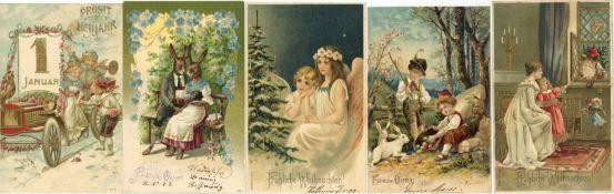 Ansichtskarten,Glueckwunsch,sonstigeGlückwunsch Jugendstil-Album mit über 160 Karten meist geprägt
