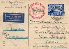 """ZeppelinZeppelinpost, 1930, Mi.Nr.438, DR, Südamerikafahrt FN 18.5.30"""", saubere 2 RM SAF,"""
