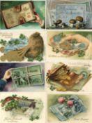 Ansichtskarten,Ansichtskarten Geschichte,Geld auf AKGeld auf AK Album mit über 220 Karten meist um
