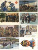 Militaer,WK I,sonstigeWK I und früher Partie mit über 140 meist Künstler-Karten schönes Lot I-II