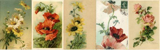Kunst u. Kultur,Berühmte Maler,sonstigeKlein, Catharina Partie mit circa 200 Blumen Künstler-